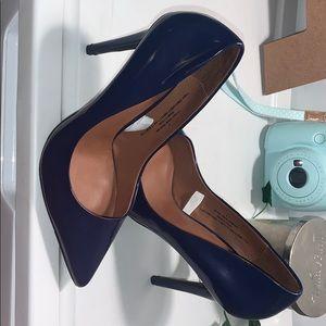 Navy blue slip on stilettos heel